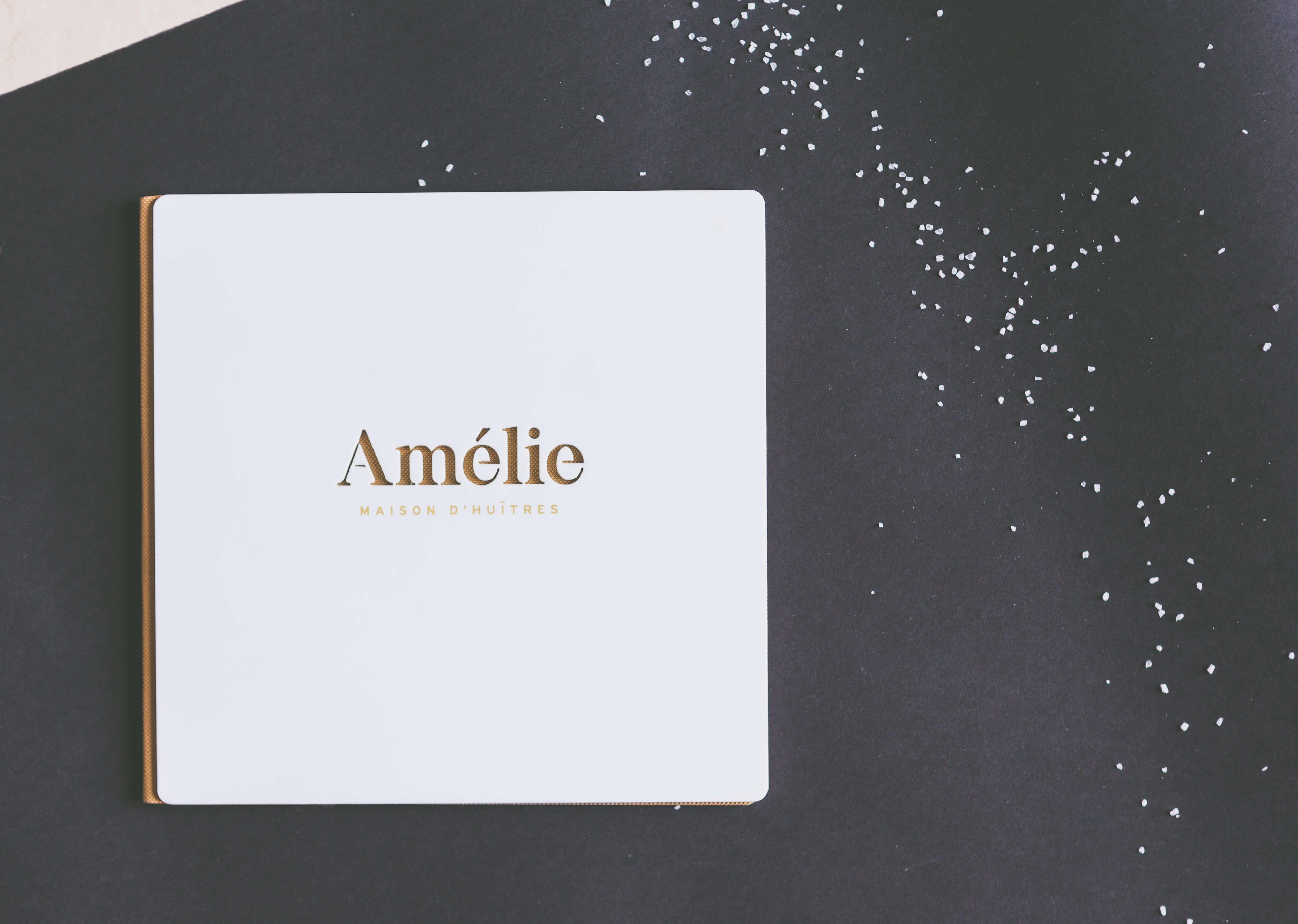 carta blanca de metacrilato para la ostreria Amelie